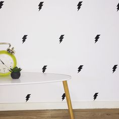 Removable lightening bolt decals! www.candhhandmade.com/products/bolts Kids rooms, interior design, nursery, wall decals, boys rooms Kids Rooms, Playroom, Wall Decals, Bedroom Ideas, Nursery, Interior Design, Boys, Closet, Home Decor