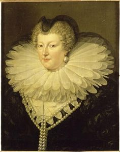 Anne of Austria, mother to Louis XIV. She is painted in her widow's gown she wore after the death of her husband, Louis XIII