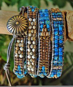 BLUESTER 4 Wrap Handwoven Leather Bracelet/BELT > White Turquoise/Picture Jasper/Blue Jasper Czech/Japanese Accents,Bronze Concho Button
