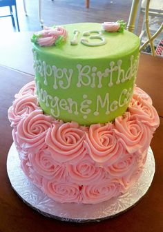 Pink Ombre Girls Birthday Cake Girls Birthday Cake Pinterest