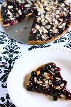 vegan blueberry and almond tart