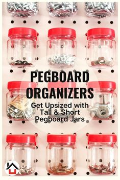 Your Garage Pegboard Will Be an Organization Oasis With Our Tall Pegboard Jars. Say good bye to the cost and frustration of missing hardware. Pegboard Craft Room, Painted Pegboard, Pegboard Garage, Craft Rooms, Garage Storage, Pegboard Organization, Organization Ideas, Organizing Tips, Ikea Hack Storage