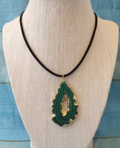 Beautiful Gold Dipped Geode Slice Necklace by TheGreenEyedTurtle, $15.00