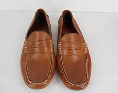 Polo Ralph Lauren Men's Telly Penny Loafer Leather Moccasins Shoes 10.5 Tan