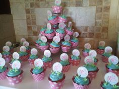 Hippo cupcakes. The cupcakes were neapolitan. Strawberry cake with a brownie bottom and vanilla buttercream frosting. These were for my cousins 2nd birthday 2013