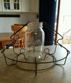Vintage Metal Wire Canning Jar Carrier Basket Rack Lifter Holder