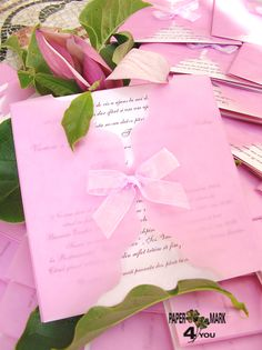Soft & lovely pink wedding invitation! handmade by Papermark4you