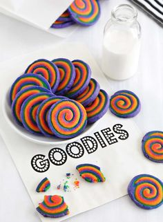 Pin for Later: 17 Rainbow Desserts That Are Almost Too Pretty to Eat Spiral Cookies Forget about making anything else — these spiral cookies are beyond mesmerizing. Rainbow Desserts, Rainbow Treats, Rainbow Food, Sprinkle Cookies, No Bake Cookies, Baking Cookies, Cookie Desserts, Cookie Recipes, Dessert Recipes