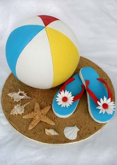 Beach Ball and Tongs Cake by ~Verusca