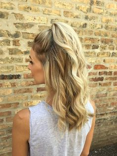 cute + casual half up half down hairstyle with waves + a high pony for everyday chic vibes or back to school | hair by goldplaited #EverydayHairstylesHalfUp #backtoschool