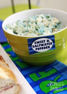 Sweet and saltwater popcorn at a Shark Birthday Party (or for watching Sharknado! Luau Birthday, 6th Birthday Parties, Birthday Ideas, Soiree Party, Swimming Party Ideas, Fun Party Themes, Brenda, Water Party, Shark Party