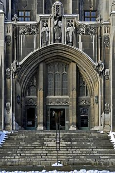 Masonic Temple, downtown Detroit, Michigan. Beautiful building with a grand entrance.