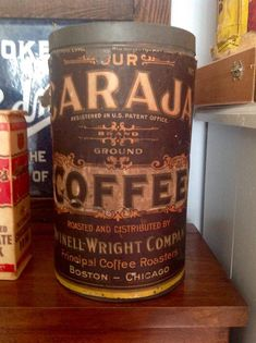 Vintage 1900's rare - two sided - Caraja Coffee Tin by Pickersistersyorktwn on Etsy https://www.etsy.com/listing/220378426/vintage-1900s-rare-two-sided-caraja
