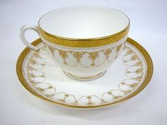 Royal Worcester China Imperial White Pattern Demitasse Cup & Saucers