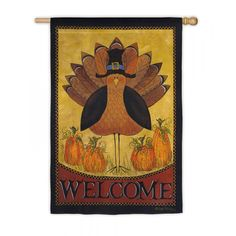 """Welcome Pilgrim Turkey"" Printed Seasonal Garden Flag; Polyester 12.5""x18"" - Flags A' Flying"