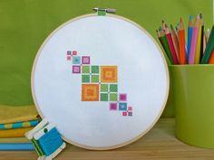 Geometric Squares Modern Cross Stitch Pattern PDF Instant