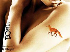 Running Fox Tattoo Sticker