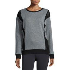 Michi Blade Embossed-Panel Sport Sweatshirt (12,970 INR) ❤ liked on Polyvore featuring tops, hoodies, sweatshirts, pullover sweatshirt, sports pullovers, round neck top, michi and sports sweatshirts