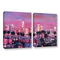 ArtWall 'Marcus/Martina Bleichner's Los Angeles Golden Skyline' 2-piece Gallery Wrapped Set (18x28)