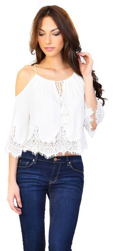"""- Lace trim detailing - Cold-shoulder - Drawstring tie neckline. - Model is 5'9"""" and is wearing a size medium"""