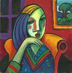 Mujer Picassiana, 2014 Acrílico sobre cartón, 20x20 cm Guillermo Martí Ceballos