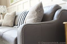LaZBoy Talbot sofa in gray leather with Nailhead Trim Accent | www.decorchick.com
