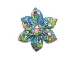 Hula girl retractable badge reel  flower badge reel  floral
