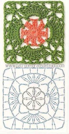 grannys sencillos-crochet-otakulandia.es (16) Crochet Motif Patterns, Crochet Symbols, Granny Square Crochet Pattern, Crochet Diagram, Crochet Chart, Crochet Squares, Crochet Granny, Crochet Designs, Granny Squares
