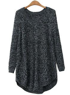 Black V Neck Long Sleeve Loose Knit Sweater US$36.07