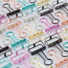 Sólido colorido oco de metal clipe de cauda longa, bill/fatura filofax fichário clipes animais-mint rosa de ouro prata