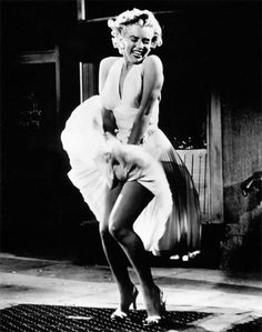 Sex Incarnate. if u asked me ... Thought by many to be a publicity stunt pulled outside a premiere, this famous pose is actually a shot from one of Marilyn Monroe's films, The Seven Year Itch. The iconic pose of this movie star has adorned countless posters, and the the white pleated halter neck dress was bought by collector Debbie Reynolds for four million dollars.