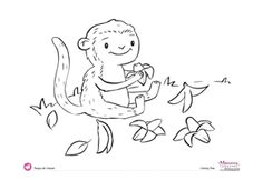 Free coloring page. Monkey & Bananas. #free #spanish #printables  @Monarca Language #monarcalanguage monarcalanguage.com