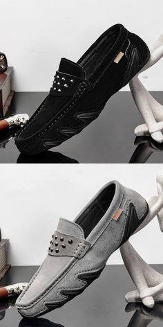 Prelesty Cool Men Dress Shoes Formal Slip On Pointed Toe Suede Leather Rivets Design Driving Leather Loafer Shoes, Loafers Men, Leather Rivets, Suede Leather, Leather Men, Futuristic Shoes, Gents Shoes, Mens Fashion Shoes, Shoes Men