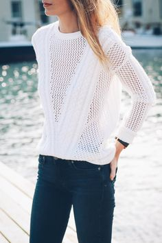 white knit sweater - Jess Kirby