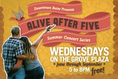 Boise's favorite Summer Concert Series runs June 6th through September 26th every Wednesday (except July 4th) and is held in the Grove Plaza downtown Boise. Listen to live music and enjoy cool beverages, vendor booths and delicious food each week. Cool off in the fountain...dance 'til you drop...or just sit back and watch! Either way, it's a great event for the whole family to enjoy...and it's FREE to attend! The event starts at 5pm and lasts until 8pm.