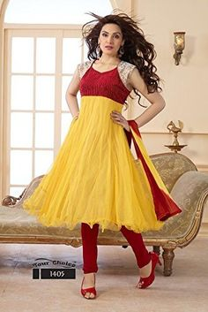 Latest designer yellow and Red long anarkali salwar suit By Fabfiza, http://www.junglee.com/dp/B00LF15BL6/ref=cm_sw_cl_pt_dp_B00LF15BL6
