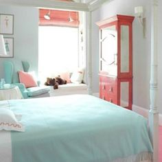 Girls room. Love the colors for a mermaid theme coral on the main wall