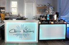 Our Coffee & Cocktails Bar - custom glow bar with blue LED lighting and a vinyl logo.  Featuring a gourmet coffee carte and espresso machine.