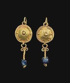 A PAIR OF ROMAN GOLD AND GLASS EARRINGS  sale 2770 2nd-3rd c AD