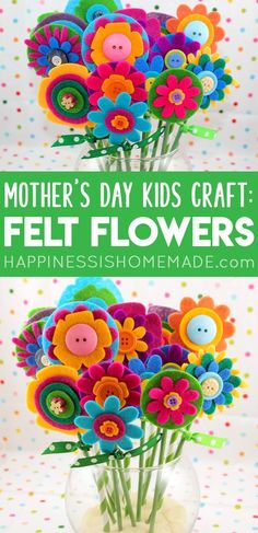 Quick & Easy Mother's Day Gift Idea: Felt Flowers - A bouquet of these pretty no-sew felt flowers makes a wonderful homemade Mother's Day gift idea! Easy enough for kids to make, but fun for adults, too! A sweet Mother's Day craft that the whole family will enjoy!