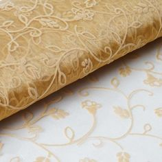 x 10 Yards Velvet Embroidery Sheer Organza Fabric Bolt Wedding Drape Panel Dress Stage Decor - Gold - ChairCoverFactory Gold Wedding Decorations, Gold Wedding Theme, Wedding Ideas, Tablecloths, Fabric Photography, Flower Stands, Panel Dress, Chair Covers, Kisses