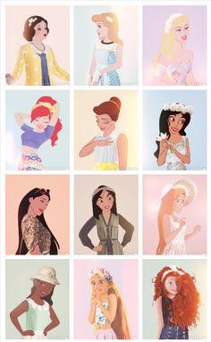 Disney Princesses in Modcloth outfits by Petite Tiaras: http://petitetiaras.tumblr.com/