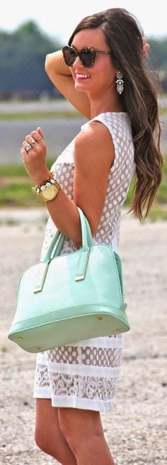 Ivanka Trump Mint Green Chic Leather Tote Purse by For All Things Lovely