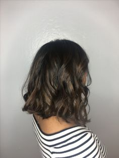 Black hair with ash brown balayage