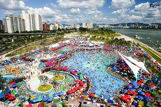 Outdoor swimming pool at Ttukseom Hangang Park, Seoul