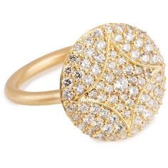 Jamie Wolf Aladdin 18k Pave Diamond Disc Ring ($3,115) ❤ liked on Polyvore featuring jewelry, rings, joias, handcrafted jewelry, disc ring, handcrafted jewellery, 18 karat gold jewelry and disc jewelry