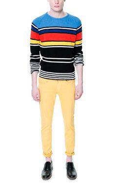 COLORED STRIPED COTTON SWEATER - Knitwear - Man - ZARA United States