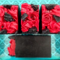 """Sexy black soap bar with red piped roses. """"Rosa Rossa""""🌹"""