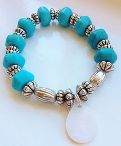 Boho Chic ... Turquoise and Pearl Charm Stacking Bracelet by ElizaSophieDesigns