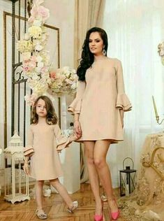 New Mother Daughter Dress Pretty Mummy and Me Christmas Dress Qulity Solid Flare Sleeve Knee-length Dress Fashion Family Clothes Mother Daughter Fashion, Mother Daughter Matching Outfits, Mommy And Me Outfits, Family Outfits, Mom Daughter, Kids Outfits, Family Clothes, Baby Outfits, Mommy And Me Dresses